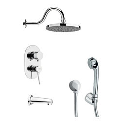 Remer - Contemporary Tub and Shower Faucet with Handheld Shower - Single function tub and shower faucet.