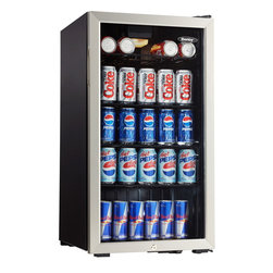 Danby - 3.3 Cu.ft. Beverage Center, Holds 128 Cans, Free Standing Application - The Danby DBC120BLS 3.3 Cu.Ft. Beverage Center is the perfect teammate with those big sporting events. You need to be ready for the friends and family who stop by to visit your flat screen TV. Whether it's the Olympics, football or hockey finals that keep those guests ever-present, this beverage center will be a great asset. With a 120 can storage capacity you will be sure to never be short on ice cold beverages. The tempered glass door and stainless steel trim add an elegant touch to any decor.