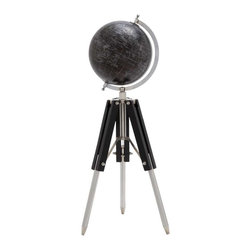 Benzara - Black Wood Metal Globe with Foldable Tripod Stand - Black Wood Metal Globe with Foldable Tripod Stand. The perfect accompaniment to your home decor, the globe will complement your interiors and lifestyle, be it tradition or contemporary. The dimensions of the black wood metal globe with tripod legs are 8 x 8 x 27.