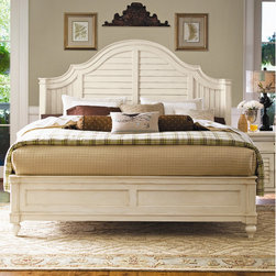 """Paula Deen Home - Steel Magnolia Panel Bed - Hey, y'all, I'm Paula Deen. In case you don't know who I am, I""""m a girl with this philosophy...I like to treat my family like company and I like to treat my company like family which has inspired this whole line of furniture. I like for everybody to feel comfortable like they've just come home after a long time away. You can definitely tell that this furniture has been inspired by my life in the South and my home here in Savannah. I really do think you""""re gonna"""" love it as much as I do. it's all about feeling good, safe and comfortable in one""""s home. And just like my food, I send you comfort and love from my home to yours. Who knew I""""d get the inspiration for a bed from my back porch shutters? This platform bed is cozy with a coastal twist. I love it for the curved headboard and raised bead molding that give any bedroom a truly majestic feel. Sweet dreams y""""all. Features: -Steel Magnolia collection. -Linen finish. -Distressed finish accentuates country design. -Shaped cap rail. -Louvered headboard panel with raised bead molding. -Curved ends on the headboard. -Raised framed footboard panel with turned feet. -Matching pieces available. -Construction: poplar veneers and select Asian hardwood solids. -Foot board height is 20"""". -Height from the floor to the bottom of the box spring is 10"""". Dimensions: -King: 85"""" W x 86"""" D x 68"""" H."""