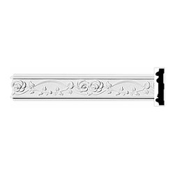 "The Renovators Supply - Crown Moldings White Urethane Ornate Hartford Crown Molding | 11655 - Crown Moldings: Made of virtually indestructible high-density urethane our crown molding is cast from steel molds guaranteeing the highest quality on the market. High-precision steel molds provide a higher quality pattern consistency, design clarity and overall strength and durability. Lightweight they are easily installed with no special skills. Unlike plaster or wood urethane is resistant to cracking, warping or peeling.  Factory-primed our crown molding is ready for finishing.  94""x 3""."