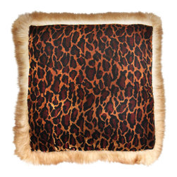 Brandi renee Designs - Rust Leopard Fur Pillow - With iconic prints and effortless style, the Animal Kingdom is a go-to influence for interior decor. Vamp up any living space with this incredible statement piece. This luxurious staple features leopard print velvet with a subtle iridescence. The trim is made from soft and fuzzy, faux camel hair.