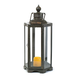 Go Home - Go Home Large Black Lantern - Bring an aura of mysticism in your surroundings with this mesmerizing Large Black Lantern. Well-crafted and made up of sturdy material, this lantern comes from our French country furniture collection. The superior-quality glass and a trimmed borderline on the top surface make this an ideal piece of home decoration.