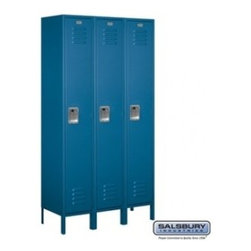 Salsbury Industries - Extra Wide Standard Metal Locker - Single Tier - 3 Wide - 6 Feet High - 15 Inche - Extra Wide Standard Metal Locker - Single Tier - 3 Wide - 6 Feet High - 15 Inches Deep - Blue - Unassembled