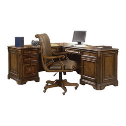 Hooker - Hooker Brookhaven Executive L Right Return in Medium Cherry - Create a stylish yet functional workspace with this Executive L Shape Desk consisting of a Left Pedestal Desk (68 1/4 x 29 - H 30 1/2 in) featuring three drawers on steel ball bearing slides include two utility drawers, partitioned storage tray in top utility drawer, three sections in second utility drawer one file drawer with Pendaflex hanging file system and center drawer with drop-front for use with a computer pullout writing shelf pedestal lock for all drawers wire access grommets levelers. Keyboard/laptop area: 20 3/8W x 19D - H 2 7/8 in. Kneespace area: H 24 1/2 in.