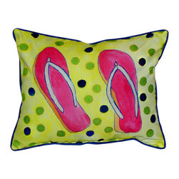 Betsy Drake - Betsy Drake Flip Flops Pillow- Indoor/Outdoor - Flip Flops Pillow- Large indoor/outdoor pillow. These versatile pillows are equal at enhancing your homes seaside decor and adding coastal charm to an outdoor setting arrangment. They feature printed outdoor, fade resistant fabric for years of wear and enjoyment. Solid back, polyfill. Proudly made in the USA.