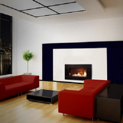 ESCEA - ESCEA Indoor Gas Black Granite Fireplace - Molaris Front, W/ Fuel Bed, W/ Stone - The ESCEA Indoor gas fireplace with the black granite Molaris fascia, is a sleek, contemporary style fireplace. Its low energy consumption makes it efficient and flexible. Compared to similar sized open fire it uses just a third of energy. Running completely silent this extra source of heat makes an ideal addition to any smaller room such as offices, home theaters or bedrooms. The direct vent technology ensures the fireplace will not impact on room air quality.