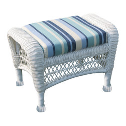 Wicker Paradise - Outdoor Wicker Ottoman - Manchester - -Premium Outdoor Wicker Framed on Aluminum for maximum durability!  -Choose from over 50 Premium Outdoor Fabrics  -Available in White, Cappuccino Brown.