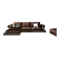 VIG Furniture - 8330 Brown Fabric and Leatherette Sectional Sofa With Down Cushions - This modern styled sectional sofa comes upholstered in a beautiful brown leather and fabric. The frame of the sectional is wrapped in the leather with the seat and back cushions covered in floss fabric. The cushions are filled with feathers creating an extra plush seating experience. The frame is crafted from solid wood products to help ensure that this piece will last for years to come. A matching ottoman comes included with the sectional.