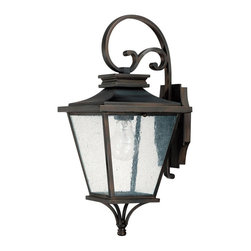 Capital Lighting - Capital Lighting 9461OB Gentry 1 Light Outdoor Wall Sconce - Featuring a traditional geometric lantern design, this appealing single light large outdoor wall sconce is supported by a decorative curled metal arm.