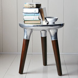 Aluminum Wood Side Table - I love this modern interpretation of a traditional milking stool.