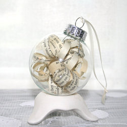 Shabby Chic Ornament, Pride and Prejudice by Inspirations by Faith - The pages of your favorite book can literally hang from your tree! I think this would be pretty with pieces of children's books inside, too.