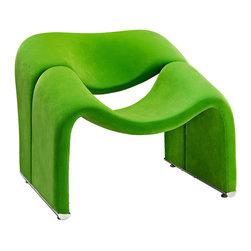 Modway Furniture - Modway Cusp Lounge Chair in Green - Lounge Chair in Green belongs to Cusp Collection by Modway Start at fresh beginnings with the Cusp modern lounge chair. Made of dense foam padding and fabric upholstery, Cusp is a transition piece unlike anything else on the market today. The craftsmanship is readily evident in this piece that more resembles a display of organically expressive art, than it does a chair. But the practical elements of Cusp are just as delightful as the artistry. Sit deeply as you spread your arms out, and relax your neck and shoulder muscles, as you bask at the horizon line ahead. Set Includes: One - Cusp Lounge Chair Lounge Chair (1)