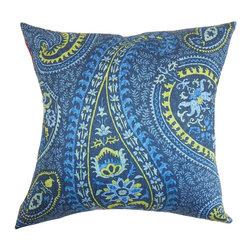 """The Pillow Collection - Barse Paisley Pillow Blue 18"""" x 18"""" - Let the rich texture in this pretty throw pillow bring style to your home. This 18"""" pillow is perfect for your furniture pieces, including the bed, sofa or seat. You can easily combine solids and other patterns with this square pillow. This decor pillow can be used in various settings. The combination of blue, yellow and aqua featured in this accent pillow makes the paisley pattern more vibrant. Made from 100% high-quality cotton fabric. Hidden zipper closure for easy cover removal.  Knife edge finish on all four sides.  Reversible pillow with the same fabric on the back side.  Spot cleaning suggested."""