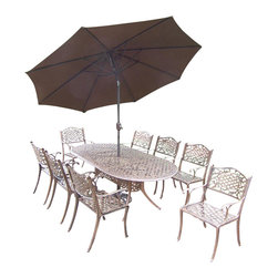 Oakland Living - 11-Pc Patio Dining Set - Includes table, eight dining chairs, 9 ft. tilt crank umbrella with stand and metal hardware. Handcast. Umbrella hole table top. Fade, chip and crack resistant. Traditional lattice pattern and scroll work. Hardened powder coat. Rust free. Warranty: One year limited. Made from cast aluminum. Antique bronze finish. Minimal assembly required. Table: 84 in. L x 42 in. W x 29 in. H (99 lbs.). Chair: 22.5 in. W x 22 in. D x 35 in. H (23 lbs.)The Oakland Mississippi Collection combines southern style and modern designs giving you a rich addition to any outdoor setting.