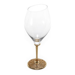 Merdinger House Of Design - Red Wine Glass - The Arabesque collection brings together the clear crisp glass with golden metal to create this breathtaking Red Wine Glass. It features mouth-blown glass fused to a refine stem which showcases the collection's unique Arabesque pattern.