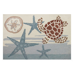 Homefires - Coastal Turtle Rug - Do you need a seaside vacation but just can't get away? The cool, calm colors of this wool-like rug add to the cool, calming aspect of the ocean life it reflects. Kick your shoes off and (almost) feel the warm sand between your toes.