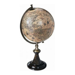 "Hondius 1627 Classic Stand Globe - The hondius 1627 classic stand globe measures 13.5 x 24"". A classic French globe stand in a rich and perfect match of ebonized wood and bronze. Solid and still fragile, elegant and imposingly present. Beauty is in the eye of the beholder..."