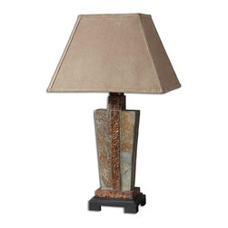 Uttermost - Slate Accent Lamp - This indoor/outdoor lamp is made of real hand carved slate with hammered copper details. The rectangle bell shade is a brushed suede, weather resistant textile. Due to the natural material being used each piece will vary.