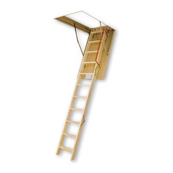 Fakro - Fakro 10.1 ft. Insulated Wooden Attic Ladder - 66803 - Shop for Ladders from Hayneedle.com! The Fakro 10.1 ft. Insulated Wooden Attic Ladder is the perfect passageway. This handsome pinewood ladder assembled in three sections so you can easily adjust it within 1.3 inches of your ideal length and is fully insulated with an internal locking mechanism for sturdy reliability. The unique design allows for more steps which mean improved safety for all and the non-slip treads keep feet from sliding off the rungs. Best of all with springs located at the door surface entry to the attic is wider and more comfortable for you! This 54-inch attic ladder is available in a 22-inch 25-inch and 30-inch width model. ANSI certified. About Fakro A privately owned company established in Poland in 1991 FAKRO has grown into one of the most dynamic and fastest growing companies in the world with over a 15% share of the global market and 3 300 employees. Their extensive research and development center produces a wide variety of roof windows with unique design and functionality accessories and the very latest in solar collectors. Their emphasis on health safety security and environmental impact is unmatched. For an expansive range of top-of-the-line products for all imaginable applications look to FAKRO.