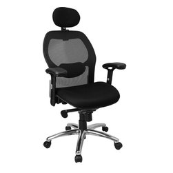 Flash Furniture - Flash Furniture High Back Super Mesh Office Chair with Black Fabric Seat - Mesh office chairs can keep you more productive throughout your work day with its comfort and ventilated design. The breathable mesh material allows air to circulate to keep you cool while sitting. Finding a comfortable chair is essential when sitting for long periods at a time. The high back design relieves tension in the lower back, preventing long term strain. The waterfall front seat edge removes pressure from the lower legs and improves circulation. Chair easily swivels 360 degrees to get the maximum use of your workspace without strain. The pneumatic adjustment lever will allow you to easily adjust the seat to your desired height. The adjustable armrests are beneficial for adjusting to different body types. The slim profile of a mesh chair will have your office at the cutting edge.