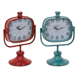 """Benzara - Durable Metal Clock in Red and Green Color - Set of 2 - Often, the biggest problem while decorating the interior comes in getting similar clocks that can complement the decor of your rooms. This set of two assorted metal wall clock offers the best option to decorate your home with similar looking designer clocks. Available in striking red and bright green color, these clocks can perfectly suit any interior backdrop. Ideal for any traditional or modern set up, these clocks have broad dials to clearly and neatly display time even from a distance. These clocks are made of sturdy metal for long lasting durability. You can conveniently keep it on your side table of the living room or your bedside in your bedroom, or even your study, rest assured of an aesthetic look of the surroundings.; Available in two striking colors; Made of sturdy metal; Durable with broad dial; Weight: 1.87 lbs; Dimensions:9""""W x 6""""D x 12""""H"""