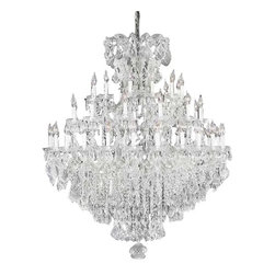 """The Gallery - Swarovski crystalrimmed chandelier - chandelier Crystal chandeliers Lighting D - This beautiful chandelier is trimmed with Sprectra crystal reliable crystal by Swarovski. Swarovski is the world's leading manufacturer of high quality crystal. Sprectra crystal Swarovski undergoes stringent quality control and offers the best crystal uniformity of sparkle, light reflection and Sprectral colors. Swarovski crystalRIMMED chandelier. A great European tradition. Nothing was ever quite so elegant as the fine crystal chandeliers that lent sparkle to brilliant evenings in palaces and manor houses across Europe. This beautiful version from the Maria Theresa collection is decorated with various hand-cut and polished Swarovski crystals that capture and reflect the light of candle bulbs resting in a scalloped bobache. The timeless elegance of these chandeliers is sure to lend a special atmosphere in every home Size: W.52"""" H.60"""" 36 LIGHTS"""