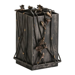 Arteriors - Mariposa Box - Tall - Inspired by a drive through Mexico's Michoacn region during the butterfly season, this rustic yet elegant natural iron box has a webbed lid embellished with raised brass bees and flowers. Use as a chest for those special treasures, as a pencil holder on your desk, convert into a vase with a graceful floral arrangement. Combine two or more sizes for a beautiful tablescape.