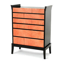 "Milan Heger Design - Dresser ""Jane"" - Dresser ""Jane"" is made as a heirloom furniture piece with carefully selected materials. The designer dresser combines ebony stained maple veneer, solid maple edging, burl Madrona wood, veneer and solid wood. Invisible drawer glides are self closing. Design is timeless, with slightly asian and contemporary feel."