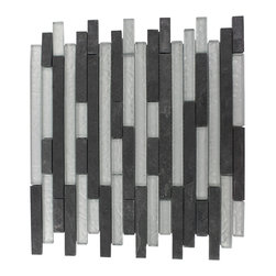 "GlassTileStore - Geological Tao Black Slate & Silver Glass Tiles - Geological Tao Black Slate + Silver Glass Tiles 1/2 x Random          This striking brick pattern design has a combination of black slate and metallic silver glass. These tiles are mesh mounted and will bring a sleek and contemporary clean design to any room.         Chip Size: 1/2 x Random   Color: Black and Metallic Silver   Material: Slate and Glass   Finish: Frosted and Polished   Sold by the Sheet - each sheet measures 12""x12x (1 sq. ft.)   Thickness: 8mm            - Glass Tile -"