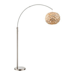 "Lite Source - Asian Lite Source Linterna Arch Floor Lamp - From the Linterna collection by Lite Source this floor lamp features a honeycomb bamboo shade in a natural finish. Arced arm and body feature polished steel for a stylish gleam. Long overhang makes this floor lamp great next to an arm chair or couch. A stylish modern accent to complement your decor. Polished steel metal arm and body. Natural finish bamboo shade. On/off pole switch. Takes one 150 watt bulb or equivalent (not included). 76"" high. Extends 60"" (max). Shade is 15 1/2"" wide 12 1/2"" high. Base is 13"" wide.  Polished steel metal arm and body.  Natural finish bamboo shade.  On/off pole switch.  Takes one 150 watt bulb or equivalent. (Includes one 32 watt CFL bulb.)  76"" high.  60"" reach.  Shade is 15 1/2"" wide 12 1/2"" high.  Weighted base is 13"" wide."