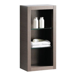 Fresca - Fresca Gray Oak Bathroom Linen Side Cabinet w/ 2 Glass Shelves - This attractive hanging side cabinet comes in a Gray Oak finish. It features 2 glass shelves with 3 open areas. It matches nicely with any Gray Oak vanity.