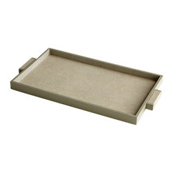 Cyan Design - Melrose Shagreen Leather Trays, Large - The Melrose Shagreen Leather Trays are the epitome of sophistication. Wrapped in elegant taupe faux shagreen leather, the Melrose Trays are perfect for displaying books, choice accessories and decorative objects on your tabletop. Layer your coffee table or ottoman for a living room focal point. Or add candles or vases for a dining table centerpiece. Create the ultimate work station in your office with this elegant catchall. Choose from small, medium or large for the perfect accompaniment. The finely crafted, clean lines of the Melrose Shagreen Leather Trays are sure to lend sophisticated style to your contemporary home or office. For a square shape, consider the Brooklyn Shagreen Leather Trays.