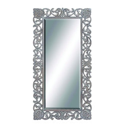 """Benzara - Amguri Elegant and Unique Wood Carved Mirror - Give your home a touch of royal appeal and style with this unique and grand looking wall mirror. Made of wooden panel, this wall mirror panel features carved design of various patterns on the border completed in blackish silver hue. This rectangular shaped wall panel can brighten up any plain wall or space adding depth and making the room look spacious and brighter. The corners of this unique mirror panel is assured to attract your guest's attention and their praise for its beauty.This unique wall mirror panel is easy to clean and maintain. Designed to suit all types of environment and ambience, this is assured to make your home look glamorous. You can even present it to your family and friends and they are sure to cherish it. So get one now and experience the change!. This Wood Carved Mirror measures 36 inch (W) x 2 inch (L) x 72 inch (H); Made of mirror with wood panel; Smooth curved edges with intricate detailing; Dimensions: 38""""L x 2""""W x 84""""H"""