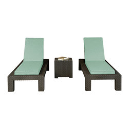 Forever Patio - Hampton 3 Piece Modern Chaise Lounge Set, Chocolate Wicker and Spa Cushions - The Forever Patio Hampton 3 Piece Outdoor Rattan Chaise Lounge Set with Turquoise Sunbrella cushions (SKU FP-HAM-3CLS-CH-SP) makes for a great addition to the poolside or wherever you desire stylish outdoor lounging. The set seats 2 adults comfortably, and includes 2 chaise lounges and an end table with a glass top. This set features Chocolate resin wicker, which is made from High-Density Polyethylene (HDPE) for outdoor use. Every strand of this outdoor wicker is infused with the rich color and UV-inhibitors that prevent cracking, chipping and fading ordinarily caused by sunlight, surpassing the quality of rattan. Each piece features thick-gauged, powder-coated aluminum frames that make the set extremely durable and resistant to corrosion. Also included with this patio chaise lounge set are cushions covered in fade- and mildew-resistant Sunbrella fabric, available in a wide selection of colors. With its comfort and quality, it is hard not to love this patio chaise lounge set.