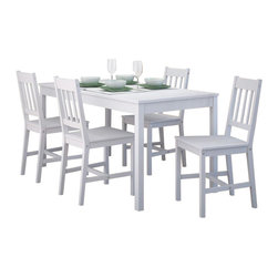 Sonax - Sonax CorLiving 5 Piece Dining Set in Soft White Wash Finish - Sonax - Dining Sets - DTC614T - Add comfort to your kitchen with this practical shaker styled table and 4 chair set from CorLiving. The solid wood construction of the bed is packaged in one convenient box and assembles in minutes. Features a fresh white wash finish and accents any decor setting while offering great value.