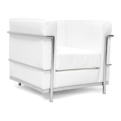 """Serenity Living Stores - Le Corbusier LC2 Style ArmChair - Italian Leather, White - Our LC2 line reproduction was inspired by Le Corbusier's original design back in the 1920's. Charles-Edouard Jeanneret-Gris better known as Le Corbusier, introduced the LC2 line for two of his project """"The Maison la Roche in Paris� and pavilion for Barbara and Henry Church. Our LC2 furniture line is true to the original design; we offer superiors quality leathers and craftsmanship. A lot of reproduction companies out there use fake leather or vinyl on their products and lower grade steel which will bend and chip over time. We offer multiple colors on all of our products, and our stainless steel is hand polished to a mirror finish.                                                                                                                                                                                                                      Overall Dimensions: 26.4"""" H x 29.9""""L x 27.5"""" D"""