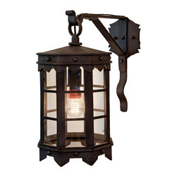Forged Lighting De la Guerra Lantern - Wrought Iron Exterior Arm Mount Fixture.  Please email info@forgedlighting.com to purchase.  Ships Nationwide.  Shown with Pearl50 LED bulb (not included).