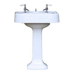 "Consigned 1930 Antique Refinished 24"" Cast Iron Porcelain Apron Pedestal Sink - 1930 Antique Newly Refinished 24"" Rectangular Cast Iron Porcelain Apron Pedestal Sink"