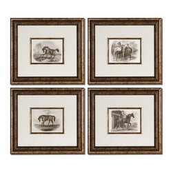 Uttermost - Uttermost Horses Framed Art Set of 4 33590 - Accented by white mats, these prints are surrounded by bronze leaf frames with a black wash. Matching fillets are around inner edges of mats. Prints are under glass.