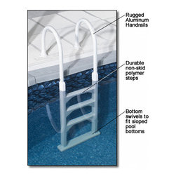 Blue Wave - Blue Wave Aluminum/Resin In-Pool Ladder - Economical In-Pool Ladder Durable Resin And Aluminum Above-Ground In-Pool Ladder Delivers Strong Quality At This Great Price! This High Quality In-Pool Ladder Makes Exiting Your Pool Safe And Secure. Durable Non-Corroding Aluminum And Polymer Construction Allows For Sure Footing And Can Accommodate Up To 250 Lbs. These Above Ground Ladders Will Fit Up To 54; Deep Pools And Come Complete With Deck Flanges. The Base Of The Ladder Pivots To Conform To Sloping Pool Bottoms For Safe Grounding. Install This Rugged In-Pool Ladder This Season At This Great Price. 1 year warranty.