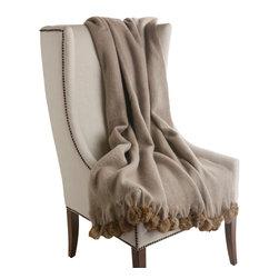 "Best Home Fashion - Rabbit Fur Pom Pom Wool Throw - 50"" x 60"", Beige - CHAIR NOT INCLUDED."