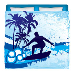 """Surfer Bedding - Eco Friendly """"Surf's Up"""" Made In USA Premium King Duvet Cover - """"Surf's Up"""" Surfer Bedding Is Premium Quality and Made In The USA!"""