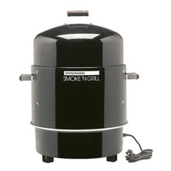 Brinkmann - Smoke N Grill - Dual level electric water smoker chrome plated grids hold up to 50 pounds of food stay cool wooden handles porcelain coated steel water pan fully rolled edges easily converts to an electric grill