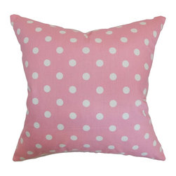 The Pillow Collection - Nancy Polka Dots Pillow Candy Pink White - Pretty in pink, this polka dots throw pillow brings a lively touch to your home. This accent pillow features white dots on candy pink background. Ideal for casual settings and various decor themes, this square pillow is a must-have home accessory. Add a little allure to your bed, sofa or chair with this square pillow. Made from 100% soft cotton fabric. Hidden zipper closure for easy cover removal.  Knife edge finish on all four sides.  Reversible pillow with the same fabric on the back side.  Spot cleaning suggested.