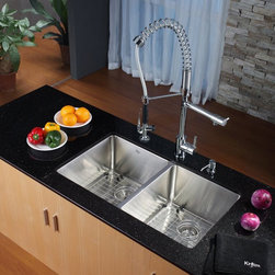 Kraus - Kraus KHU102-33-KPF1602-KSD30CH Double Basin Undermount Kitchen Sink with Faucet - Shop for Kitchen from Hayneedle.com! Give your kitchen a unique look with the Kraus KHU102-33-KPF1602-KSD30CH Double Basin Undermount Kitchen Sink with Faucet and its innovative design. This modern set features a pair of faucets to give you the perfect flow for any task at hand. Its pair of large basins offers plenty of room to operate to keep your kitchen cooking right along.Product SpecificationsNumber of Basins: 2Bowl Depth (inches): 10Weight (pounds): 41Low Lead Compliant: YesEco Friendly: YesMade in the USA: YesHandle Style: LeverValve Type: Ceramic DiscFlow Rate (GPM): 2.2Spout Reach (inches): 9.5About KrausWhen you shop Kraus you'll find a unique selection of designer pieces including vessel sinks and faucet combinations. Kraus incorporates its distinguished style with superior functionality and affordability while maintaining highest standards of quality in its vast product line. The designers at Kraus are continuously researching and exploring broader markets seeking new trends and styles. Additionally durability and reliability are vital components at Kraus for developing high-quality fixtures. Every model undergoes rigorous testing and inspection prior to distribution with customer satisfaction in mind. Step into the Kraus world of plumbing perfection. With supreme quality and unique designs you will reinvent how you see your bathroom decor. Let your imagination become reality!
