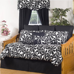 None - Swirl 10-piece Daybed Set - A contemporary floral print graces the Swirl daybed set. This bedding set features a chic and elegant black and white color palette.