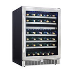 Danby - 51 Bottle Built-In Wine Cooler, LowE tempered glass door Silhouette - With the Danby DWC153BLSST 51 Bottle Silhouette Select Built-in Wine Cooler your wine will taste better when it's chilled to perfection. This cooler is sure to impress you with its dual zones for simultaneous red and white chilling, frost-free, fan-forced cooling system, and a LOW E glass door that protects the cooler's contents from harmful UV rays and helps to maintain a consistent temperature. It also features LED track lighting, a sleek, stainless steel door, and stainless steel trimmed roller glide wood shelves for a modern aesthetic. In addition, the temperature ranges from 39��F to 64��F for an optimal chilling experience.Built in wine cellar with 51 bottle capacity|The temperature range can be set between 39��F-64��F (4��C-18��C) depending on the type of wine|Frost-free, fan forced cooling system provides a more consistent internal temperature than an automatic defrost|White LED track lighting beautifully illuminates the interior without the heat created by an incandescent bulb. Easily set for continuous display|Two distinct, independently controlled temperature zones|Precise digital thermostat with LED display|Alarm will sound if temperature fluctuates excessively or door is left ajar|Roller-glide shelves extend effortlessly minimizing agitation to the wine|LOW E glass door helps protect wine from harmful UV rays and maintains a more consistent internal temperature|Reversible door swing allows for left or right hand opening|  danby| dwc153blsst| 51 bottle| silhouette select| built-in wine cellar| built-in| wine cellar| wine| cellar  Package Contents: wine cellar|manual|warranty  This item cannot be shipped to APO/FPO addresses
