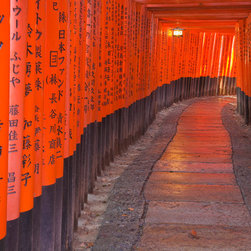 Murals Your Way - Torii Walkway, Japan Vinyl Wall Decal - Torii, usually painted vermillion, are traditional Japanese gates found at the entrance to Shinto shrines