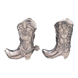 Arthur Court - Cowboy Boot Salt & Pepper Set - Kick up the flavor of your home-cooked meals with these sassy cowboy boot salt and pepper shakers. Complete with spurs and decorative embellishments, this is one pair of boots that will never wear out. Gift this tasty tabletop accessory to the rodeo enthusiast or Tex Mex lover in your life.
